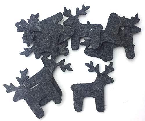 filzschneider Bastelfilz Figuren Set - Elch aus Filz, Farbe: schwarz meliert - Streudeko, Winterdeko, Weihnachten