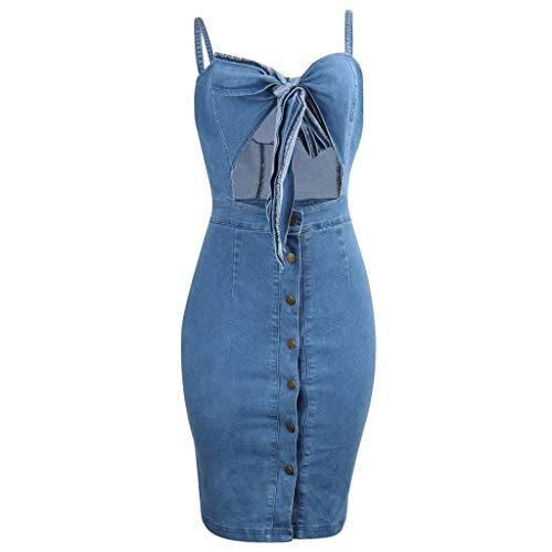 Frauen Casual Party Sommerkleid Frauen Sexy Solid Color Sling Strap Hohl Denim Denim Button Kleid -
