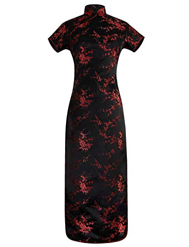 VENI MASEE Chinesisches Kleid Qipao Black & Red Floral langes Abendkleid Cheongsam S-6XL - M