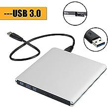 Unidad DVD Externa / Zilong Portátil Grabadora de CD-RW , DVD-RW con Cable USB 3.0 para Windows 2000 / XP / Vista , Windows 7/ 8 / 98 y Otros Sistemas(Plata)