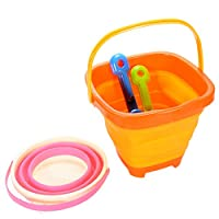 ThinkMax 2 Packable Beach Toys Set, Seaside Pails and Collapsible Buckets Toys Playset, Summer Outdoors Beach Tool Toy Set for Kids and Children