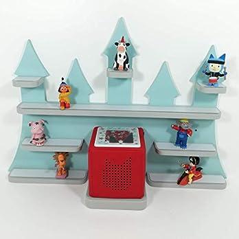 Tonie Board, Schloß in türkis mit grauen Regalen, ideale Aufbewahrung für Tonie Box und Tonie Figuren, Kinderzimmer Regal, Deko Board, Musikboxaufbewahrung, Hängeregal