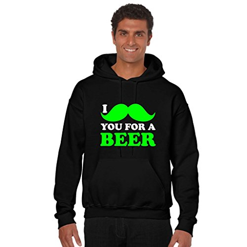 TYYC Mo you for Beer Moustache Printed Mens Sweatshirt Hoodie With Kangaroo Pockets Black X-Large  available at amazon for Rs.849