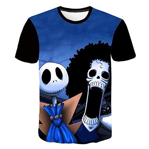 sommer-beiläufige Tarnungs-Druck-mit Kapuze ärmelloses T-Shirt Spitzenweste,Halloween Puppe D blau. 3XL ()