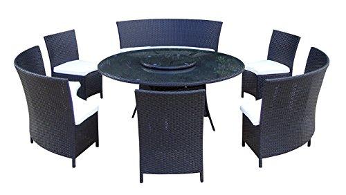 Baidani Gartenmöbel-Sets 10d00013.00001 Designer Lounge-Garnitur Timeless, 1 Tisch mit Glasplatte, 3 Stühle, Doppelsitzer, passenden Sitzauflagen, schwarz