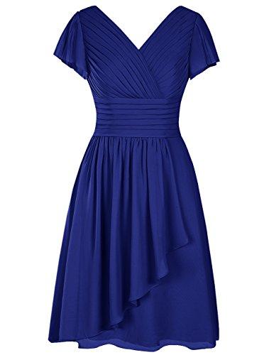 Dresstells Robe de demoiselle d'honneur en mousseline col en V manches courtes longueur genou Bleu Saphir