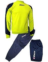 Zeus Tris Napoli Entrenamiento Chándal de Fútbol Sala para Hombre Incluye Pantalones, Pantalones Cortos, y Camiseta Pegashop (AZUL-AMARILLO FLUO, XXL)