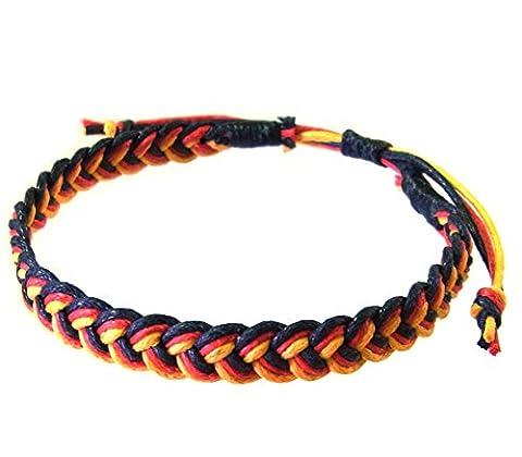 Artisan Asiatique Bracelet Fait Main 100% Ficelle de Coton Couleur Noir Rouge Jaune