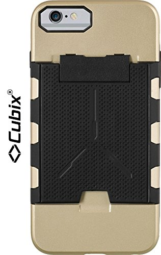 Cubix® Shock proof case for Apple iPhone 6 Plus Fusion Series Back Cover Slim Armor Case Card Slot Rugged Case 4 Side Protection - Gold  available at amazon for Rs.799