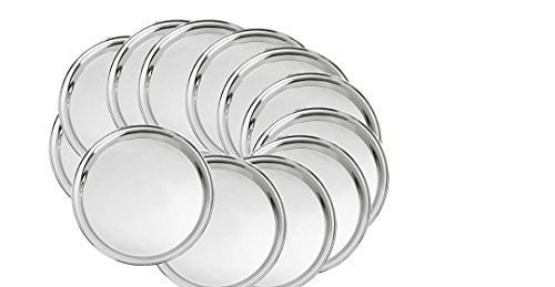 King Traders Stainless Steel Round Dinner Plate Set of 12pcs  available at amazon for Rs.1199