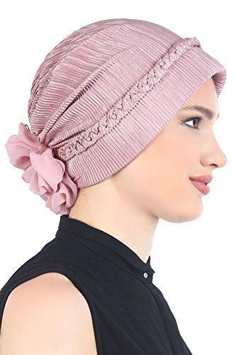 Tressé avec des perles Coiffe pour Perte de Cheveux, Cancer, Chimio Rose