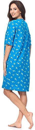 Italian Fashion IF Camicia da Notte per Donna Cleo 0114 Turchese/Bianco