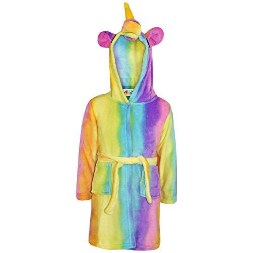 A2Z 4 Kids® Mädchen Jungen Bademantel Kinder Tier Weiche - Bothrobe Unicorn Rainbow 7-8