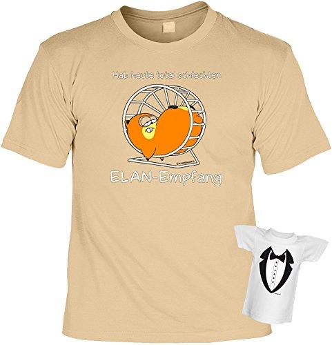 Fun T-Shirt Hamster Schlechter ELAN Empfang Shirt bedruckt Geschenk Set mit Mini Flaschenshirt Sand