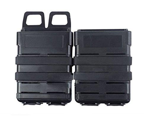 haoYK Fast Attach Mag Pistole Duty Gürtel Doppelmagazin Holster Halter Tasche Set Gürtel oder MOLLE SYSTEM Kombination Weste Zubehör (Schwarz) Airsoft Pistole Holster Weste