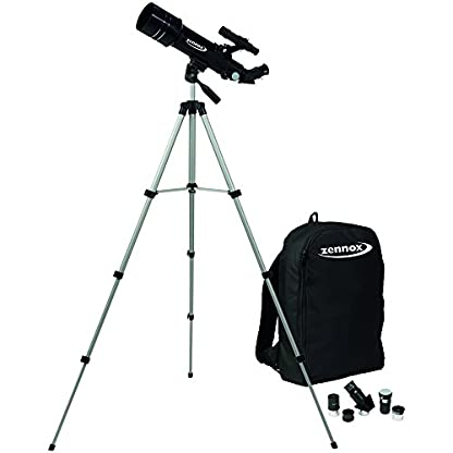 Zennox 70 x 400 Refractor Portable Travel Telescope 400m Focal Length 2x24 Finder Scope Carry Bag Tripod.