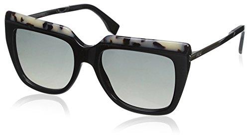 Fendi ff 0087/s dx cu1 53, occhiali da sole donna, nero (hvn blk ruth/dkgrey sf)