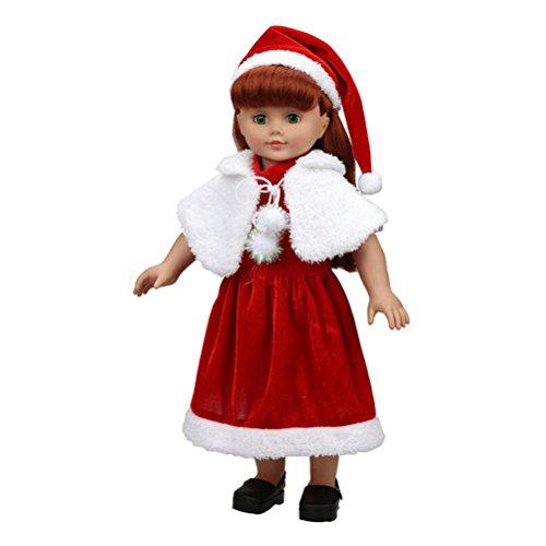 WINOMO 18 Zoll Mädchen Puppen Weihnachten Kleider Outsuits Passt mit Hut Schal (Weihnachten Passt)