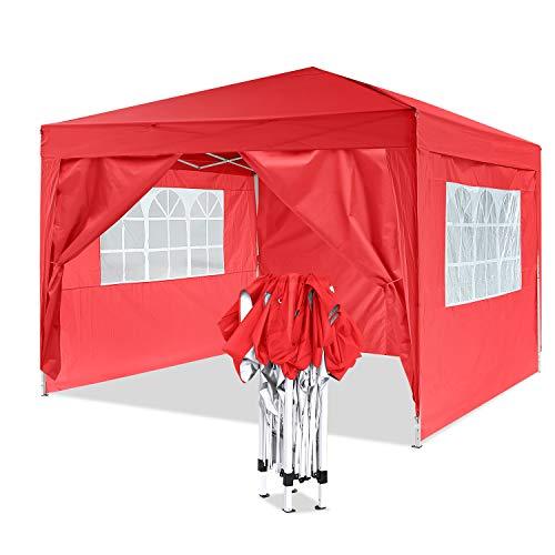 YUEBO Pavillon 3x3, Wasserdicht Faltbare Gartenpavillon Festival Sonnenschutz Faltpavillon mit 4 Seitenteilen (Rot)