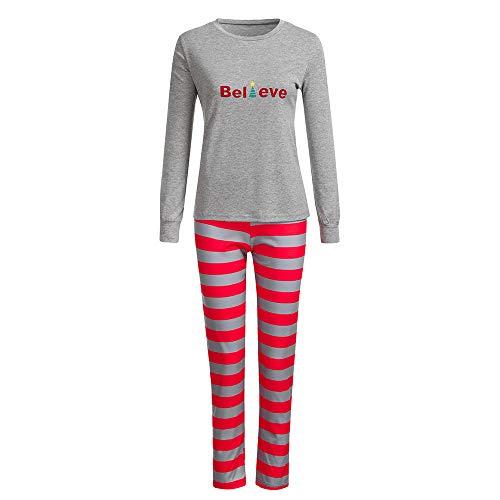 chlafanzug Familien Outfit Mutter Vater Kind Baby Pajama Langarm Nachtwäsche Print Sleepwear Casual Santa Rundkrage T-Shirt Oberteile Top Hose Set von, Weihnachtsbaum ()