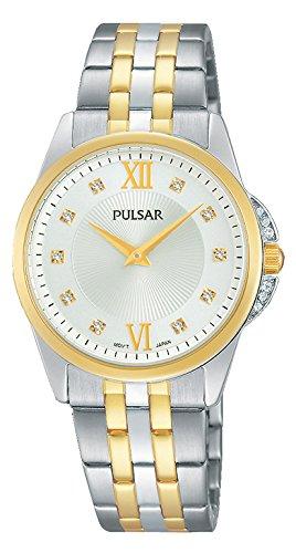 Pulsar women's quartz analogue wrist watch, stainless steel coated PM2165X1