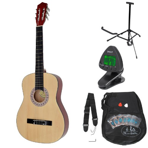 Classical concert guitar complete with accessories. Standard Quality. Natural wood color. Regular size (4 / 4).