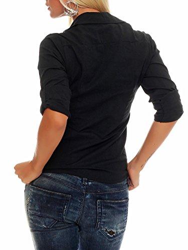 Malito Chemise Blouse Classique Look Casual Elégante Tunique Manches Lounges Top Boutons Casual 8030 Femme noir