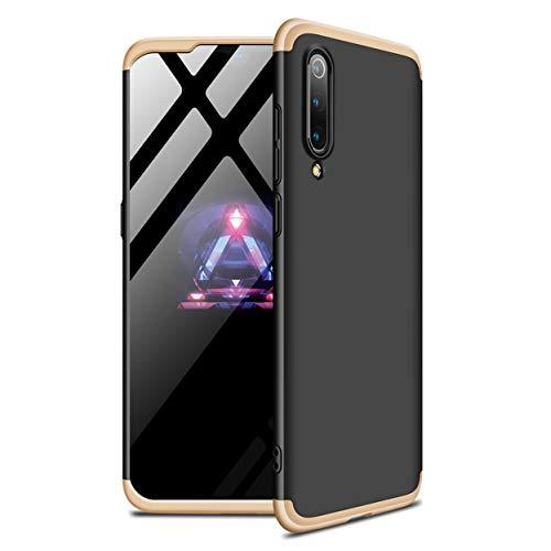 Funda Xiaomi Mi 9 SE 360°Caja Caso + Vidrio Templado Laixin 3 in 1 Carcasa Todo Incluido Anti-Scratch Protectora de teléfono Case Cover para Xiaomi Mi 9 SE (Oro Negro)