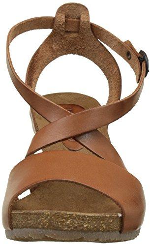 Kickers Spagnol, Sandales compensées femme Marron (Camel)