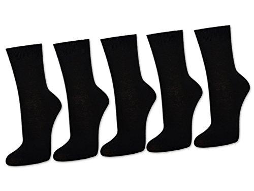 10 Paar Damensocken 100% Baumwolle ohne Naht Business Damen Socken Schwarz Weiß Beige Braun - Sockenkauf24 (39-42, Schwarz)