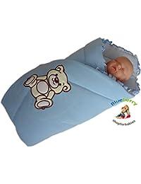BlueberryShop Bordado Jersey Manta para Envolver al Recién Nacido Sábana Bajera Saco de Dormir Regalo Algodón 0-4m ( 0-3m ) ( 78 x 78 cm )