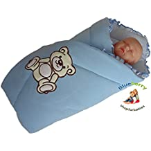 BlueberryShop Bordado Jersey Manta para Envolver al Recién Nacido Sábana Bajera Saco de Dormir Regalo Algodón