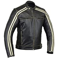 Australian Bikers Gear Retro Style 'The Bonnie' - Chaqueta de moto, Negro / Blanco, M