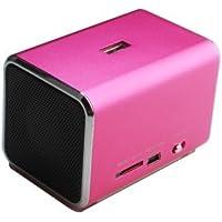 Music Angel–Mini altavoz estéreo/Cajas/estación de sonido y sistema de altavoces–con radio incorporada, de seguridad, lector de tarjeta SD Micro USB y clavija de 3,5mm–color: rosa