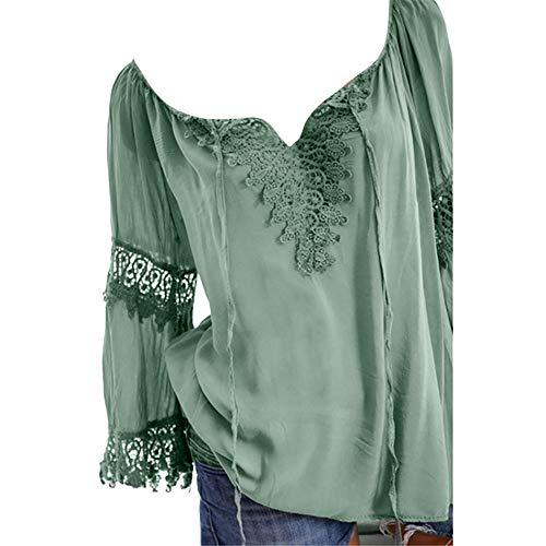 AmyGline Oberteile Damen Bluse Groß Größe Schulterfrei Spitze Einfarbig V Ausschnitt Kurzarm Hemd T-Shirt Top Freizeitbluse Sommerblusen Hemden Shirt -