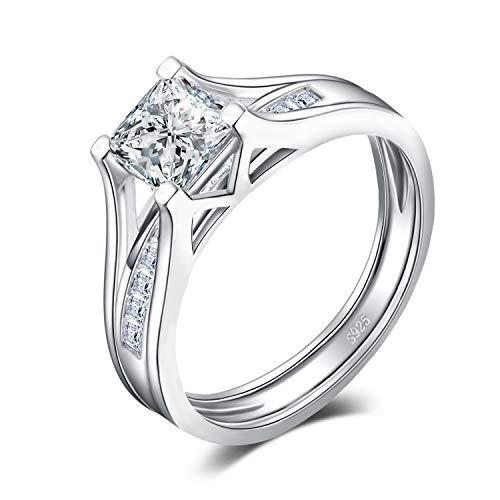 3e142cbd5aeb JewelryPalace 2ct Princesa Corte Cubic Zirconia Aniversario Banda De Boda Solitario  Anillo De Compromiso Bridal Canal