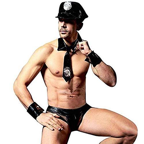 G.N Herren Polizist Cop Kostüm Shiny Leder Latex Briefs Netz Rolle Sexy Uniformen 5er Set