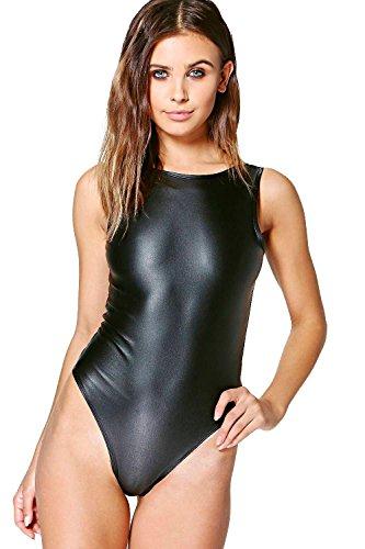 Noir Femme petite suzanna body en cuir synthétique à dos dégagé Noir