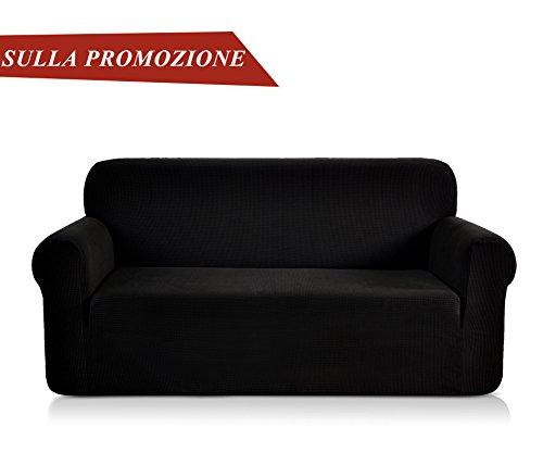 Chun yi 1-pezzo copridivano elasticizzato coprisofà jacquard in tessuto elastico colore a scelta (divano, nero)