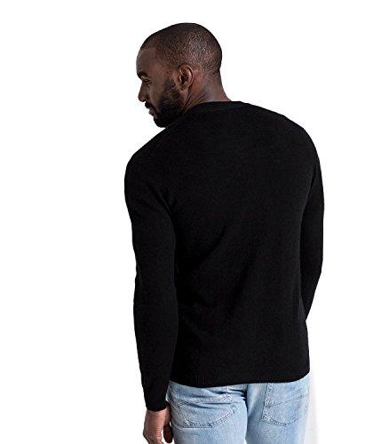 WoolOvers Strickjacke mit V-Ausschnitt aus Merinowolle-Kaschmirwolle für Herren Black