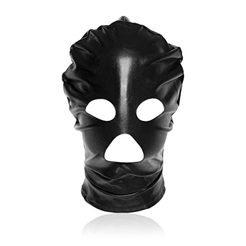 LLU Volles Gesichts-Augenbinde-Maske-Kopf-Haube Abschließbarer u. Dildo-Penis-Mund-Gag-Kostüm-Bondage-Erwachsene Geschlechts-Spielwaren-Fetisch-Haube LOVOE, Black (Adult Penis Kostüm)