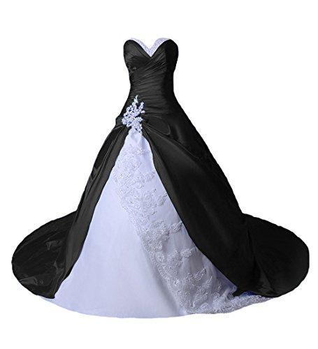O.D.W Damen Spitze Lange Gotisch Hochzeitskleider Mehrfarbig Vintage Brautkleider(Schwarz+Weisse,...