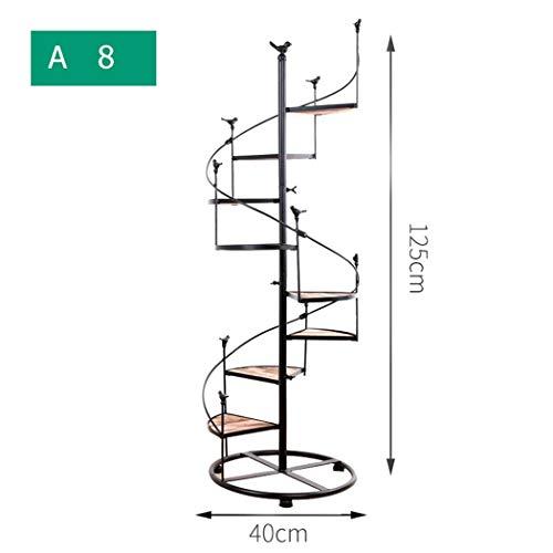 YONGYONG Escalera de Caracol de Hierro Forjado de múltiples Capas, Escalera de 8 Pisos con balcón, Sala de Estar, Maceta de Interior, Estante para macetas, 100 * 40 cm (Color : A125*40cm, Tamaño : 8)