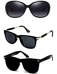 Y&S UV Protected Mirror Reflector Goggle Unisex Sunglasses (Black)