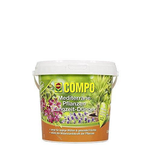 COMPO Mediterraner Pflanzen Langzeit-Dünger für alle mediterranen Pflanzen, 6 Monate Langzeitwirkung, 1,5 kg, 50m²