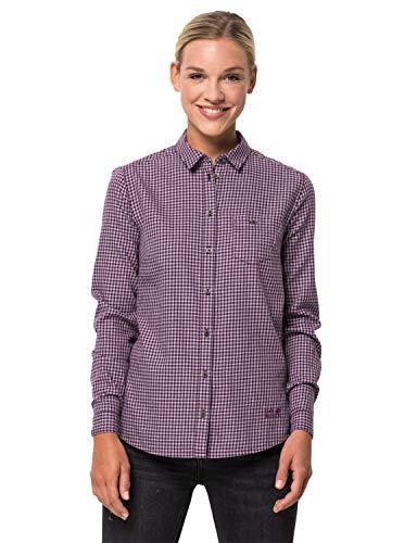 Jack Wolfskin Damen Alin Shirt Bluse, aubergine Checks, M