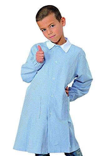 Grembiule pollicino isacco per asilo e scuola materna 3-6 anni (3 anni, rigatino azzurro)