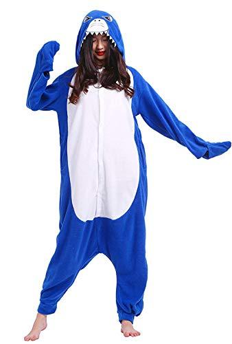 Deley unisex adulto pigiama party costume cosplay del fumetto animale con cappuccio onesie anime pigiameria loungewear squalo taglia l