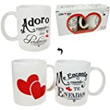"""Pinkmarket 55502 - Set 2 tazas cerámica Mug desayuno y café. MUG Cup para leche, agua, zumo de frutas. Modelo """"adoro/me encanta"""""""