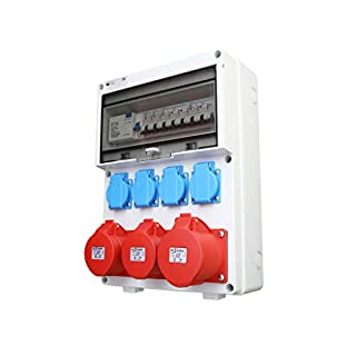 Wandverteiler FI 2x 16A + 1x 32A + 4x 230V Stromverteiler Baustromverteiler Verteiler Feuchtraumverteiler AWVT1-3V2